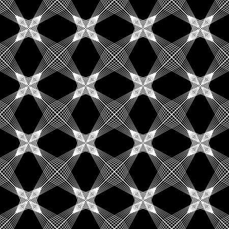Design seamless monochrome decorative pattern. Abstract lines textured background. Vector art. No gradient Vektorové ilustrace
