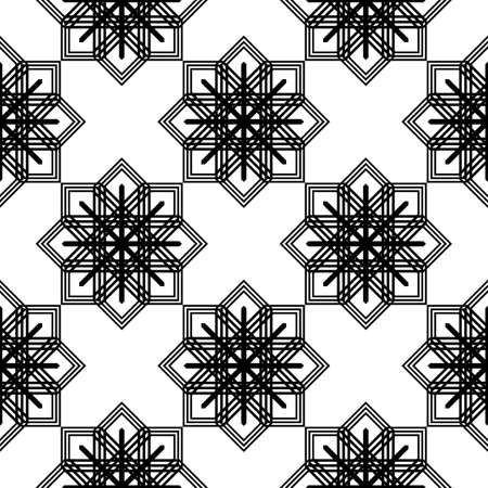 Design seamless monochrome snowflake pattern. Abstract background. Vector art Illusztráció