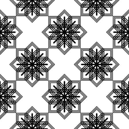 Design seamless monochrome snowflake pattern. Abstract background. Vector art Illustration