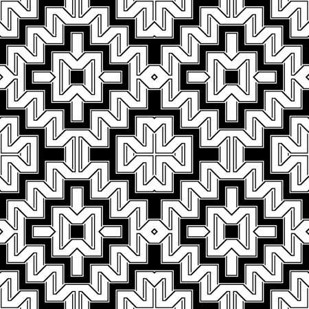 Design seamless monochrome geometric pattern. Abstract zigzag background. Vector art Ilustração