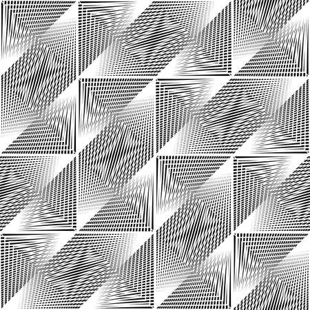 Design seamless monochrome geometric pattern. Abstract illusion background. Vector art. No gradient Stock Vector - 109246776