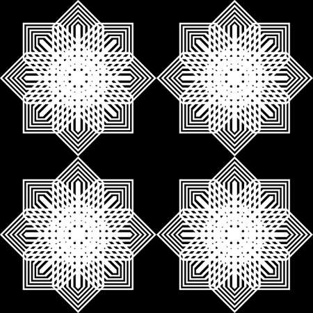 Design seamless monochrome snowflake pattern. Abstract background. Vector art  イラスト・ベクター素材