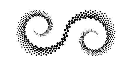 Projekt kropki spiralne tło. Abstrakcyjny element dekoracyjny. Ilustracja wektorowa sztuki. Brak gradientu