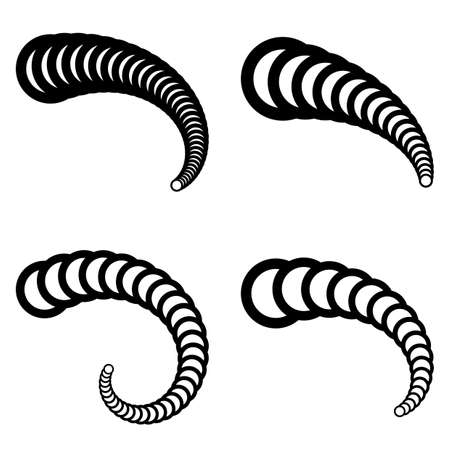 Set of design 3d icons. Abstract spiral twisted elements. Vector-art illustration. No gradient Çizim