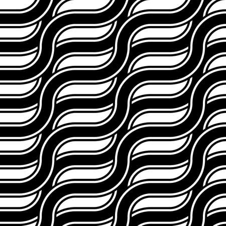 Design seamless monochrome zigzag pattern. Abstract interlaced background. Vector art Çizim