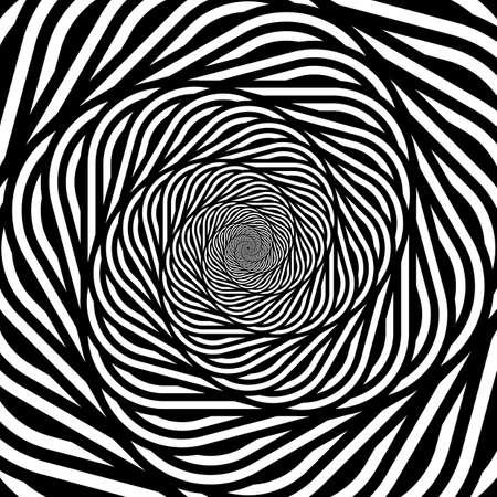 Fondo monocromatico di illusione del movimento a spirale di progettazione. Contesto astratto di distorsione. Illustrazione di arte vettoriale