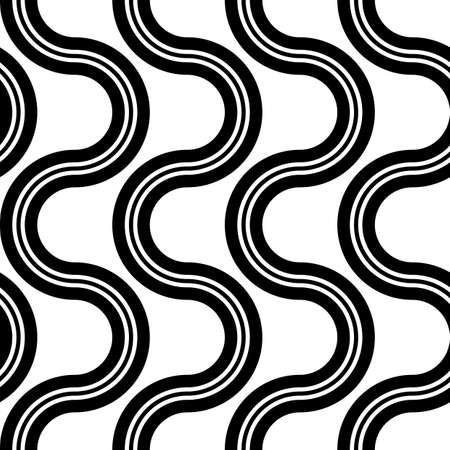 Design seamless monochrome zigzag pattern. Abstract twisting background. Vector art 矢量图像