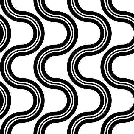 Design seamless monochrome zigzag pattern. Abstract twisting background. Vector art Illustration