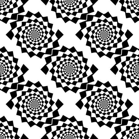 Design seamless monochrome spiral movement illusion background. Abstract design backgroung. Vector-art illustration