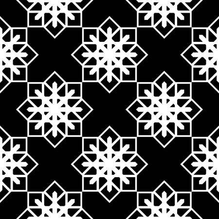 Design seamless monochrome snowflake pattern. Abstract background. Vector art Ilustração