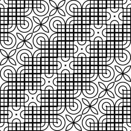 Design seamless monochrome decorative pattern. Abstract geometric background. Vector art