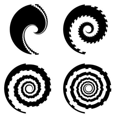 Set of design monochrome spiral movement illusion icons. Abstract design elements. Vector-art illustration Illustration