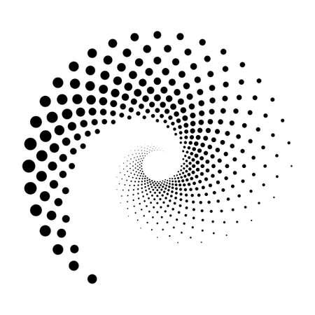 Sfondo di puntini a spirale di design. Fondo monocromatico astratto. Illustrazione di arte vettoriale. Nessun gradiente