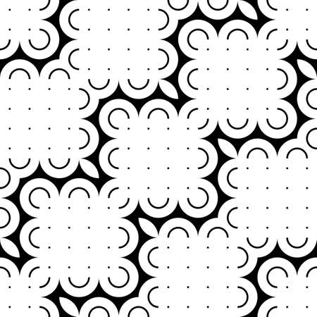 Design seamless monochrome floral pattern. Abstract decorative background. Vector art Vettoriali