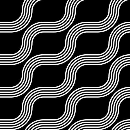 Design seamless monochrome zigzag pattern. Abstract interlaced background. Vector art Illustration