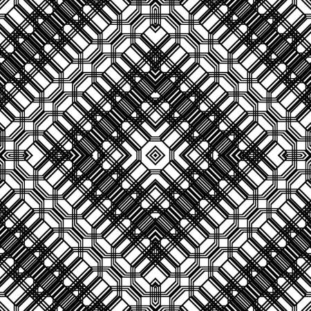 Design seamless monochrome geometric pattern. Abstract grating background. Vector art Stock Illustratie