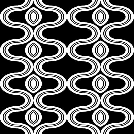 Design seamless monochrome zigzag pattern. Abstract decorative background. Vector art  イラスト・ベクター素材