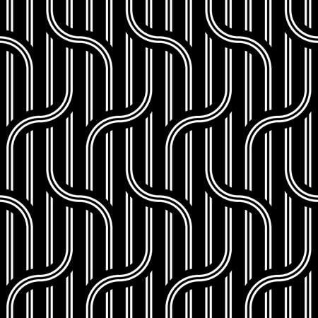 Design seamless waving pattern. Abstract monochrome interlaced background. Vector art Stock Illustratie