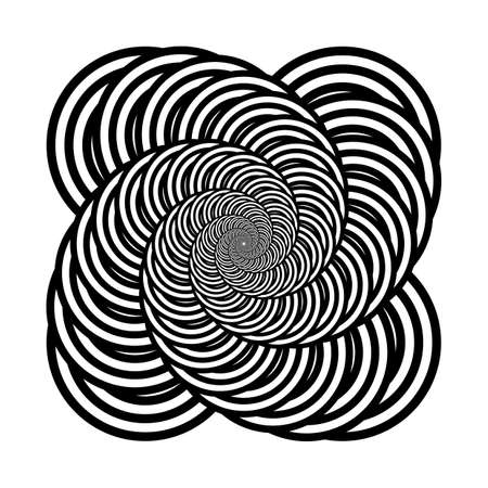 Design monochrome spiral movement illusion background. Abstract distortion backdrop. Vector-art illustration