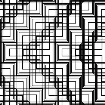 Design seamless monochrome grid pattern. Abstract zigzag background. Vector art  イラスト・ベクター素材