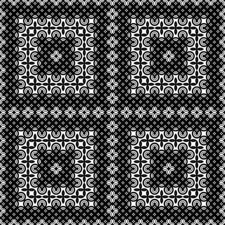 Design seamless monochrome decorative pattern. Abstract geometric background. Vector art