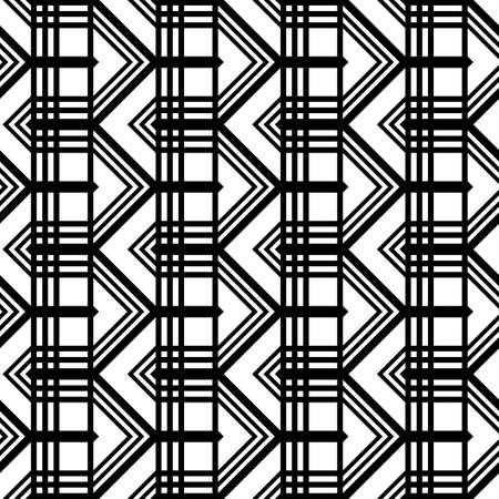 Design seamless monochrome grid pattern. Abstract zigzag geometric background. Vector art