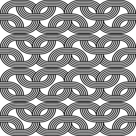 Design seamless monochrome zigzag pattern. Abstract interlaced background. Vector art Иллюстрация