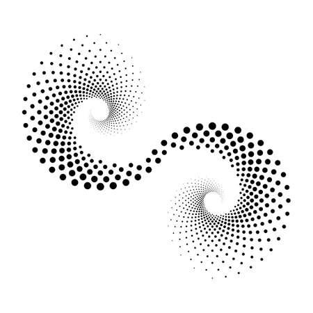 Design spiral dots backdrop. Abstract decorative element. Vector-art illustration. No gradient Illustration