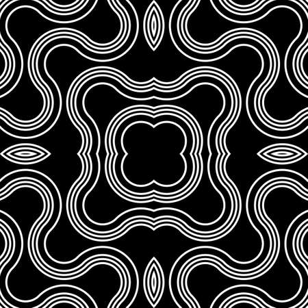 Design seamless monochrome decorative pattern. Abstract twisting background. Vector art
