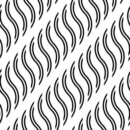 Design seamless monochrome waving pattern. Abstract stripy background. Vector art 일러스트