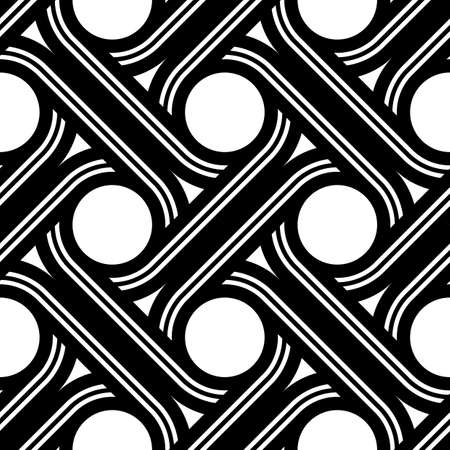Design seamless interlaced pattern. Abstract monochrome circle background. Vector art