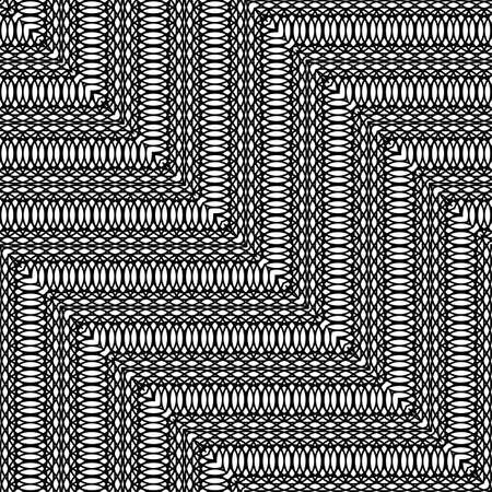 Design seamless monochrome zigzag pattern. Abstract interlaced background. Vector art Illusztráció