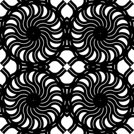 Design seamless spiral twisted backdrop. Abstract monochrome decorative background. Vector art