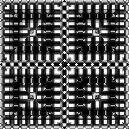 Design seamless monochrome geometric pattern. Abstract grating background. Vector art Illusztráció
