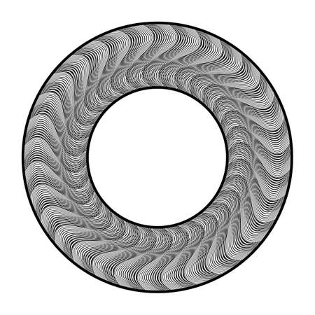 Design monochrome decorative circle element. Abstract backdrop. Vector-art illustration. No gradient Illusztráció