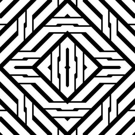 Design seamless monochrome diamond pattern. Abstract stripy background. Vector art Ilustracja