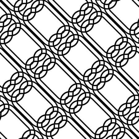 Design seamless monochrome grating pattern. Abstract interlaced background. Vector art Vector Illustration