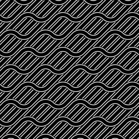 Design seamless waving pattern. Abstract monochrome interlaced background. Vector art Ilustrace