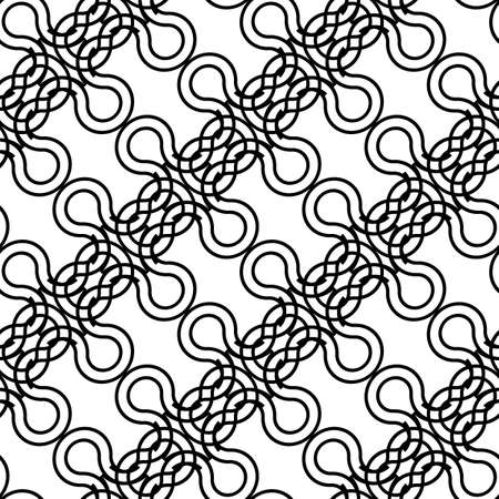 Design seamless monochrome decorative braid pattern. Abstract interlaced background. Vector art
