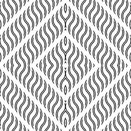 Design seamless monochrome diamond pattern. Abstract wavy background. Vector art Ilustrace