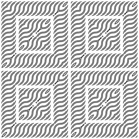 Design seamless monochrome square pattern. Abstract wavy background. Vector art