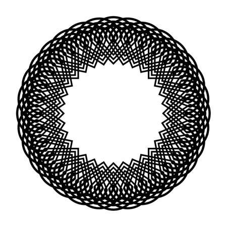 Design monochrome circle element. Abstract grating backdrop. Vector-art illustration