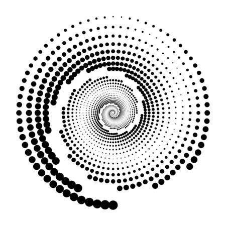 Design spiral dots backdrop. Abstract monochrome background. Vector-art illustration. No gradient Vecteurs