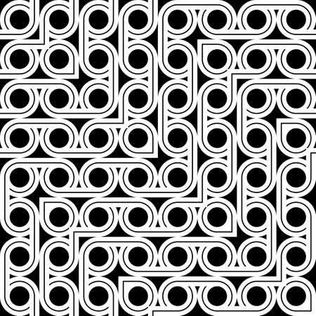 Design seamless zigzag pattern. Abstract monochrome circle background. Vector art