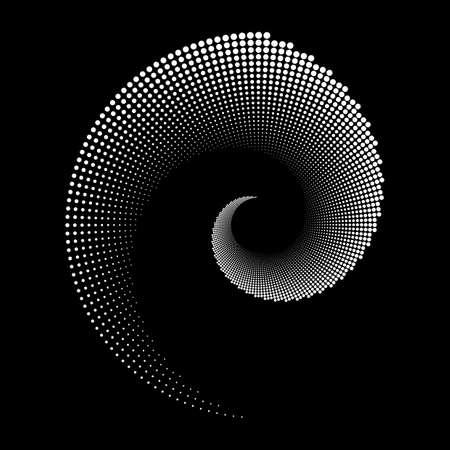 Design spiral dots backdrop. Abstract monochrome background. Vector-art illustration. No gradient