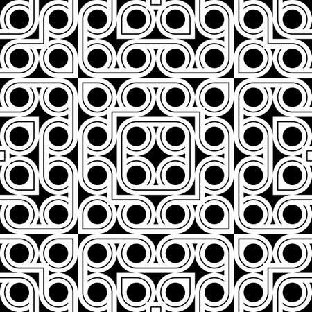 Design seamless geometric pattern. Abstract monochrome circle background. Vector art  イラスト・ベクター素材