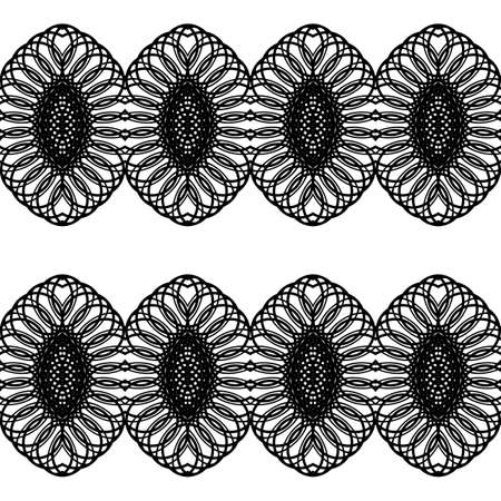 Design seamless decorative pattern. Abstract monochrome lacy background.