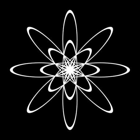 Design monochrome decorative circle element. Abstract grating backdrop. Vector-art illustration
