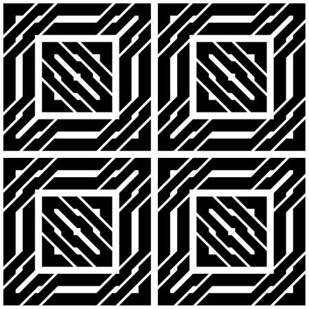 Design seamless monochrome square pattern. Abstract stripy background.