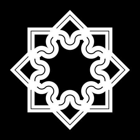 Design monochrome decorative snowflake element. Abstract grating backdrop. Ilustracja